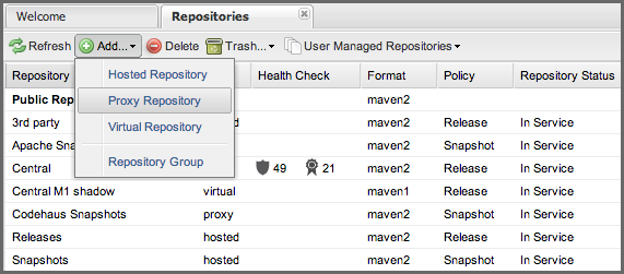 Repository Management with Nexus 61 / 405 Figure 4.1: Creating a New Proxy Repository Once you do this, you will see a screen resembling Figure 4.2.