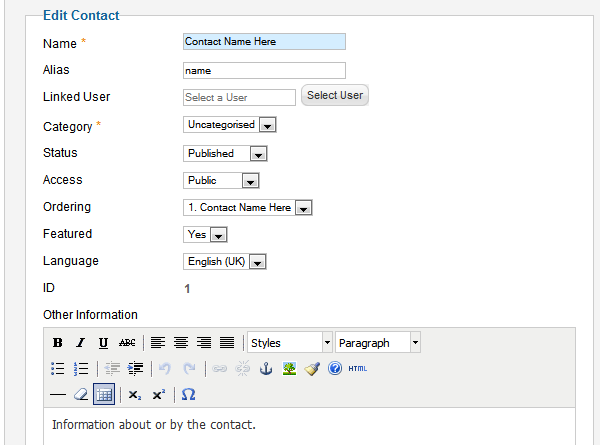 Setting up Contact Us Form Click Components > Contacts > Contacts from Menu Click on Contact Name Here to edit contact information