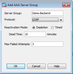 Create a new server group by clicking the Add button.