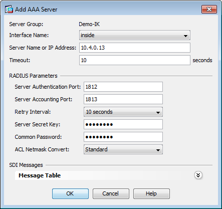 Create a new AAA server group by clicking on Add. Server Group: Demo-IK Protocol: RADIUS Leave all other options on their Default values Click OK.