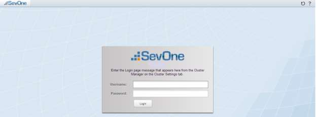 page. 9. In the Username field enter admin. 10. In the Password field, enter SevOne (case sensitive) 11. Click Login.