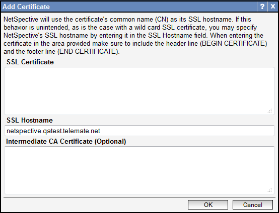 To add a self-signed certificate, click on the Add Certificate button. Enter your desired hostname in the SSL Hostname field. When you are finished, click OK.