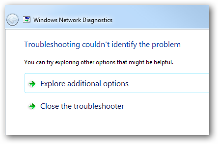 Windows 7 will run network diagnostics and verify the connection is good.