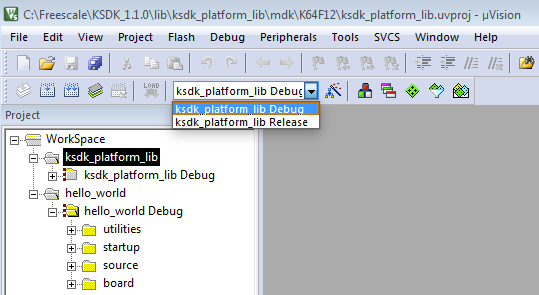 2. Make the platform library project the active project since the library is required by the demo application to build.