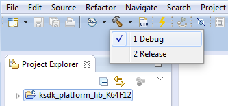 6. Choose the appropriate build target, Debug or Release, by clicking the downward facing arrow next to the hammer icon, as shown below. For this example, select the Debug target.