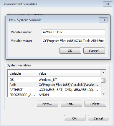 7.1.3 Add a new system environment variable for ARMGCC_DIR Create a new system environment variable and name it ARMGCC_DIR.