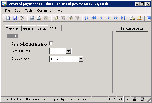 Terms of Payment The Terms of payment form has been modified to identify the terms of