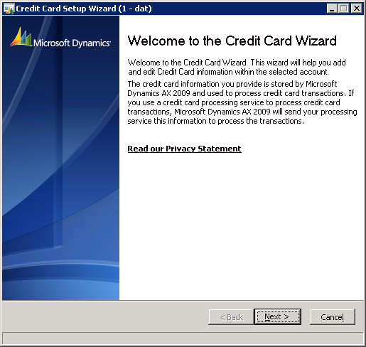 The Credit card wizard is a series of six forms that request card holder information and the credit card number.