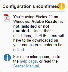 Configuration unconfirmed: your browser does not meet the minimum requirements and all PDF forms will be downloaded and open offline, outside your browser.