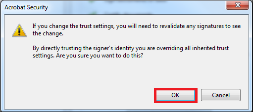 on 'OK' to confirm in the Acrobat Security pop-up window EC