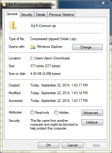 2. In Windows Explorer, right-click each of the downloaded ZIP files and select Properties.