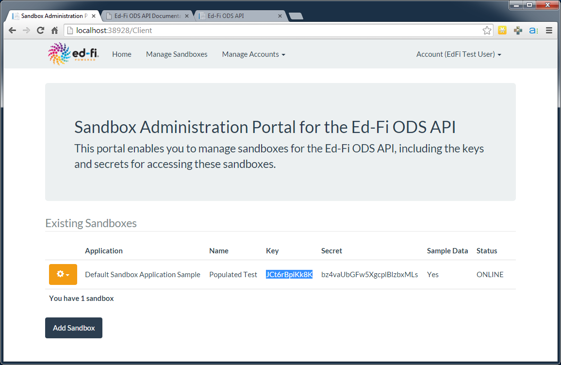 The Sandbox Administration Portal The Sandbox Administration Portal (see the following screen) is a web application used to create
