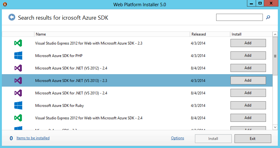 3. Select and install Microsoft Azure SDK for.net (VS 2013) 2.3. 10 10 Note: Windows Azure SDK for.net v2.