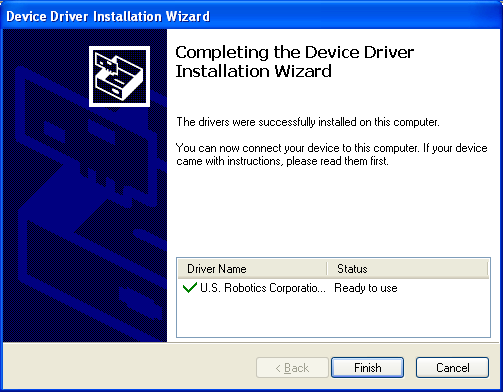 Figure 21: Completing the Device Driver Installation Wizard Dialog Box 9.