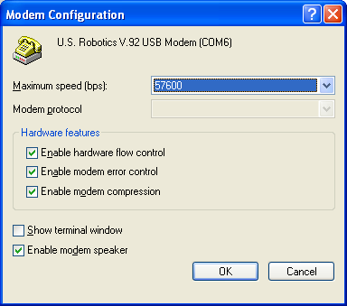 Figure 32: Modem Configuration Screen 3. In the Maximum speed (bps) list, select the speed of the NAE/NIE port to which the computer is connecting.