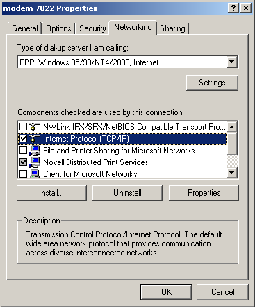 Figure 36: Modem Properties Screen - Networking Tab 6.