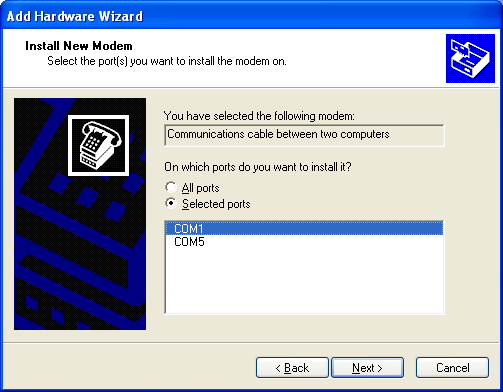 Figure 4: Install New Modem Screen - Select Port 7.