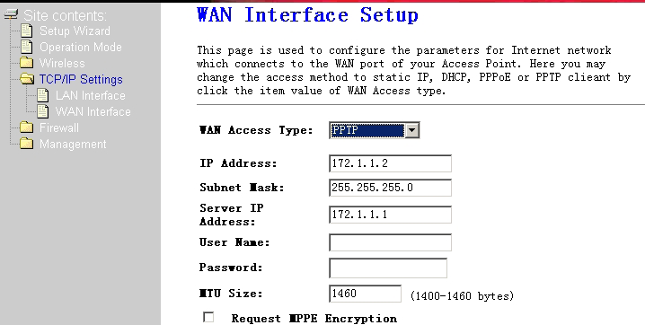 PPTP USER SETUP 1. From the WAN Access Type drop-down menu, select PPTP. 2.