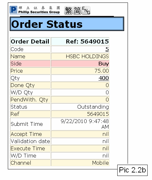 Once side, 2.2 status input the order quantity, is transmitted, price the submit Order time.