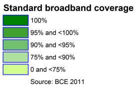 Many more would be found to have more limited coverage than is shown here if more stringent criteria for broadband performance were applied.
