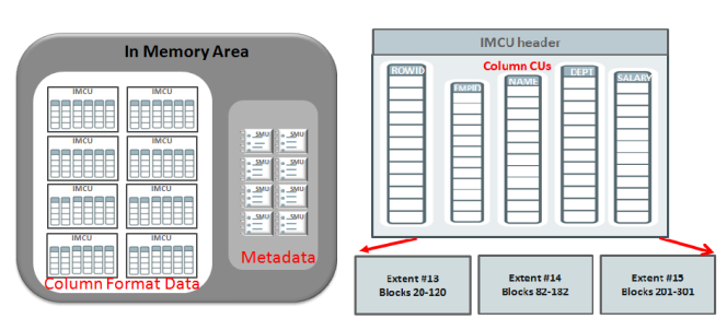 The creation and storage of columnar data in the in-memory area is called population. Population is done from the on-disk row major data.