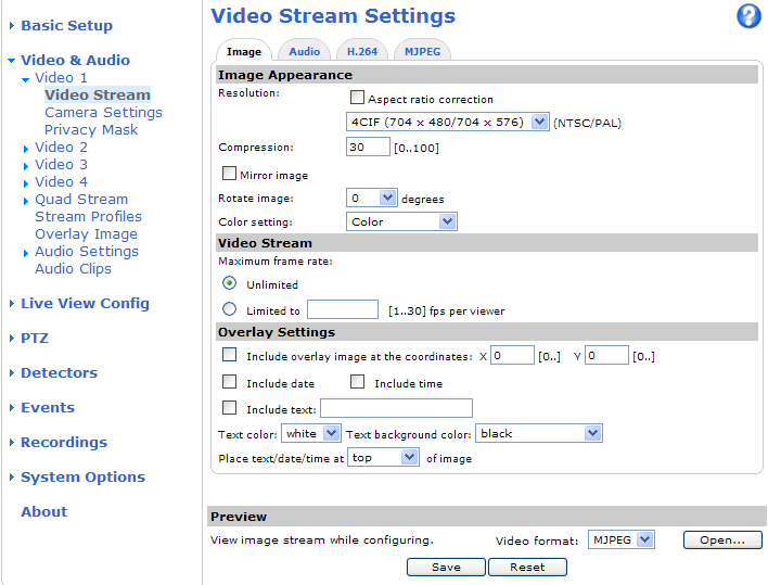 Video and Audio Video and Audio The video and audio settings can be used to optimize video and audio quality. You can configure the following: Video stream settings. See page 16. Stream profiles.