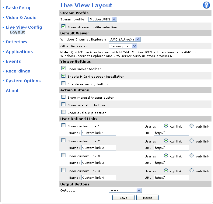 Live View Config Live View Config You can customize the Live View page and alter it to suit your requirements. It is possible to define the following features of theliveviewpage. Stream Profile.