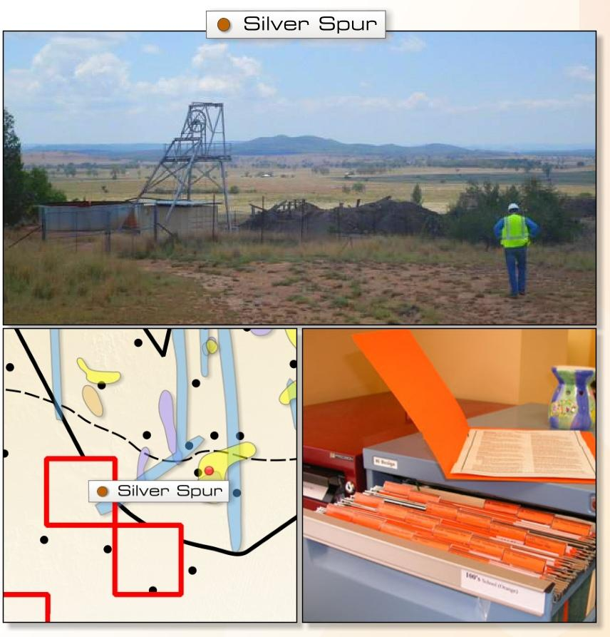 Silver Spur Base Metals Target Previously reported massive sulphide inferred JORC resource of 808,000t @ 3.56% Zn, 1.