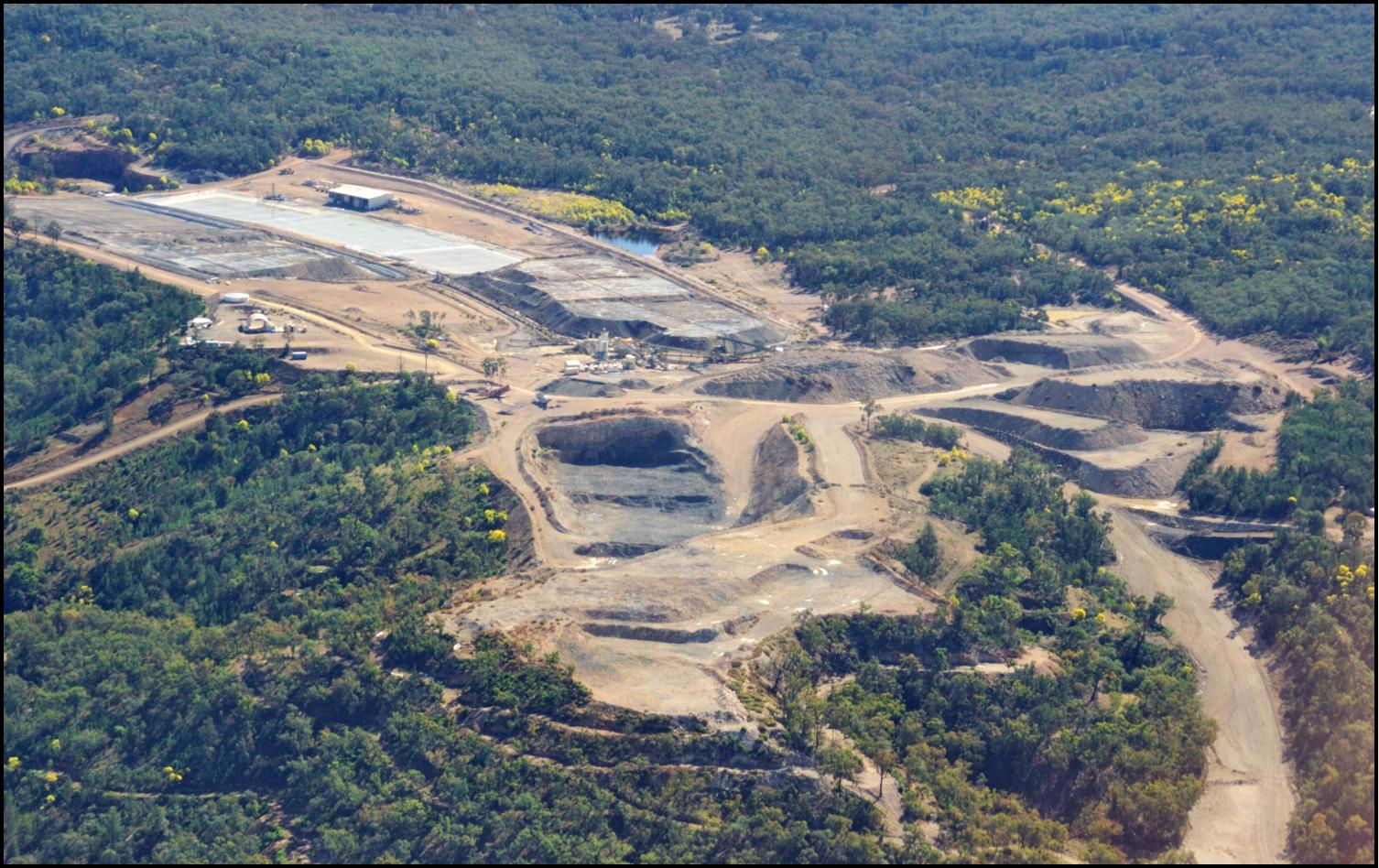 Twin Hills Mine Aerial View Pregnant Pond Silver Recovery Stockpiles: