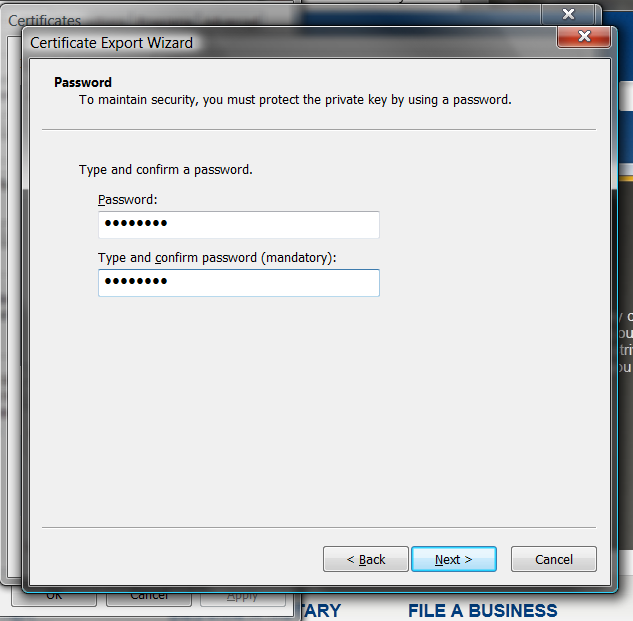 Using Step eight (cont d) Enter and confirm a password for your certificate.