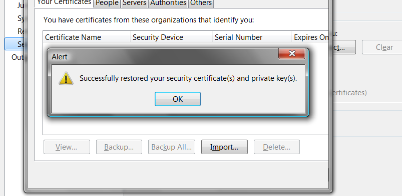 Using Step ten (cont d) Enter the password you set for your certificate and click OK.