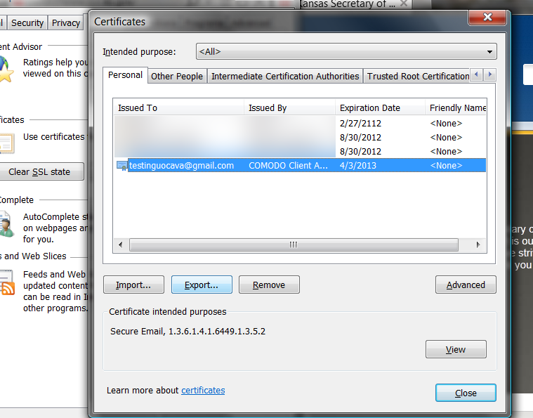 Using Step seven The certificate viewer will open and you will see your new certificate issued by COMODO