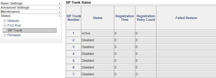 A successful registration of a SIP Trunk number is indicated by the appearance of the message Active