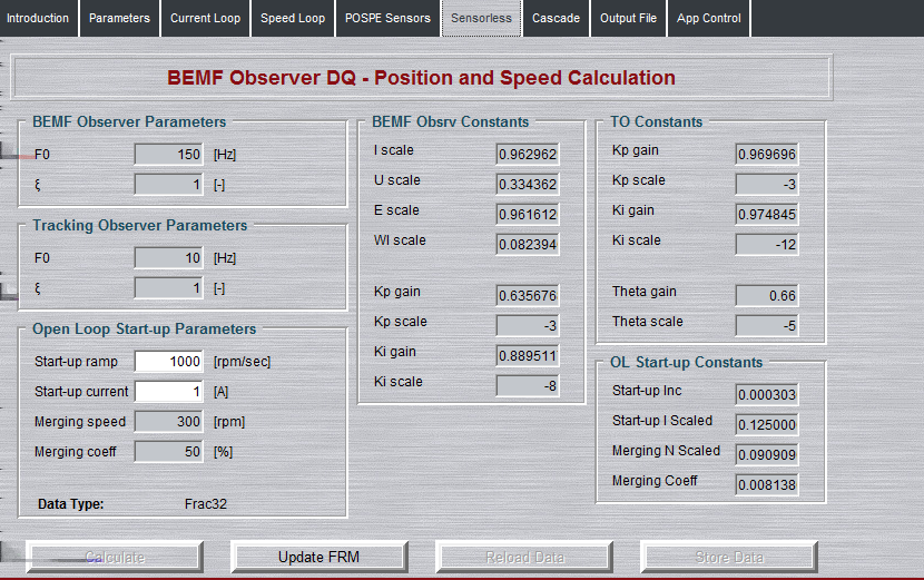 6.6 Sensorless tab As it has been mentioned, the most important signals in the PMSM FOC control scheme are speed and position feedbacks.