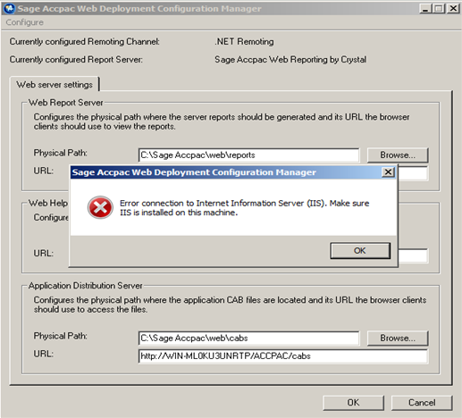 Note: The above error message may occur if IIS 6 Management Compatibility is not selected or if running Web Deployment Wizard with a Windows User