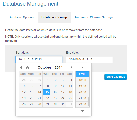 Server and Database Manually: allows you to define the date interval for which the data is to be removed from the database.