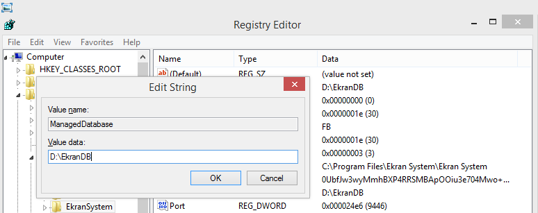 Server and Database 6. In the Registry Editor window, modify the following values: Database: Enter the full path to the EkranActivityDB.