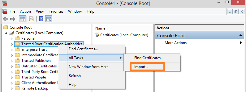 Management Tool 8. In the Console window, expand the Certificates (Local computer) node. 9. In the Certificates (Local computer) tree-view, find the Trusted Root Certification Authorities node. 10.