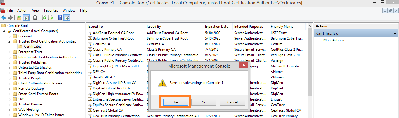 Management Tool 18. The certificate is imported and is displayed in the Console window in the Certificates node.