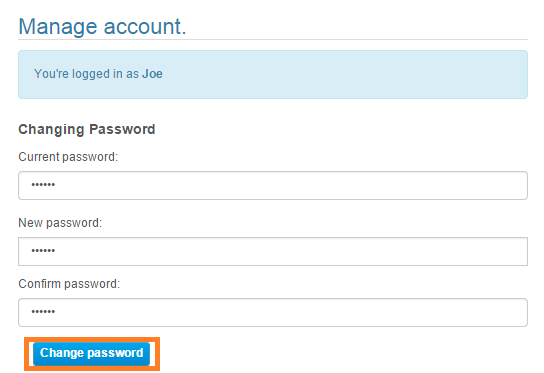 Management Tool 6. Click Change password. 7.
