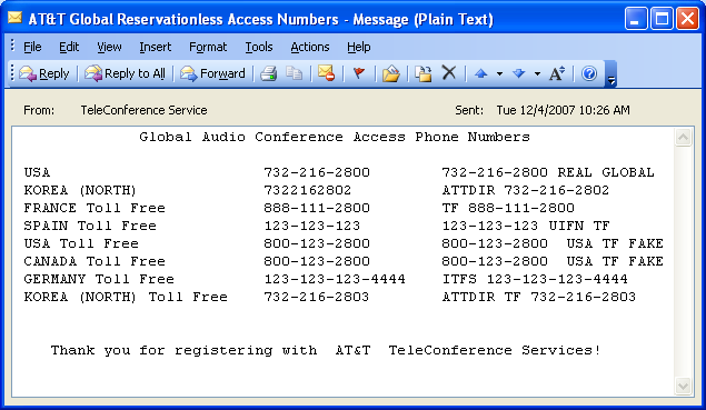 Global Access Dial-In Per Country HTML Email Global Access Dial-In Per Country Text Email 3.