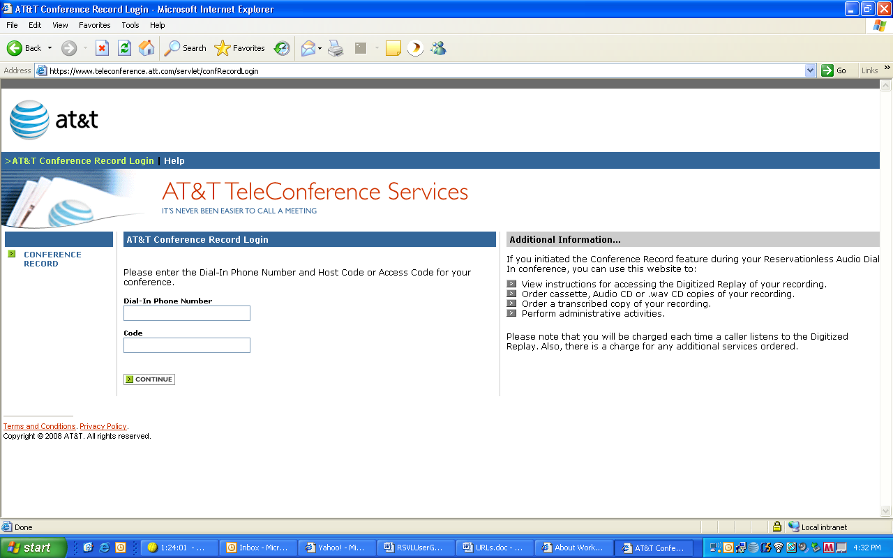 4.2 Logging into Online Conference Record Ordering Site Launch your Web browser go to https://www.teleconference.att.