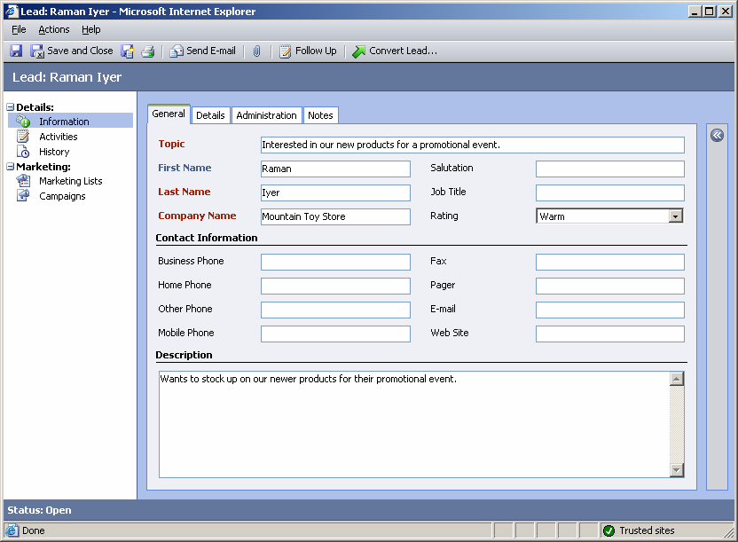 Implementing Microsoft CRM 3.0 Small Business Edition 7. Click Save.