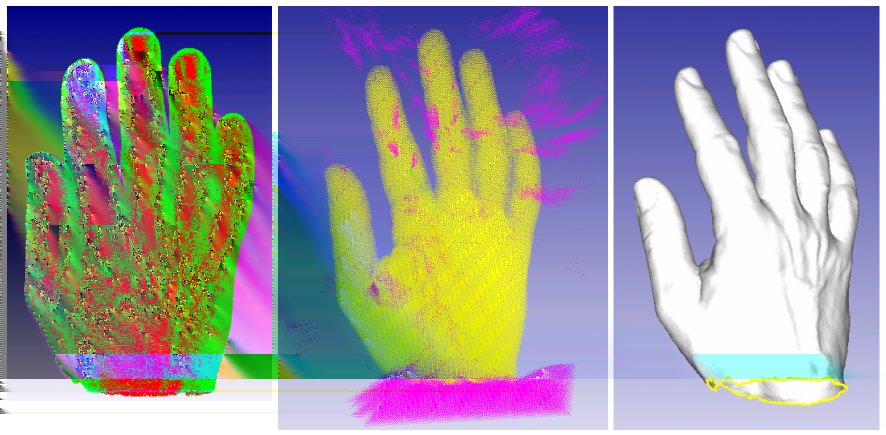 5 Figure 10: hand point cloud (left), marching cubes (middle) and reconstructed surface (right) [KBSS01] KOBBELT L. P., BOTSCH M., SCHWANECKE U., SEIDEL H.-P.
