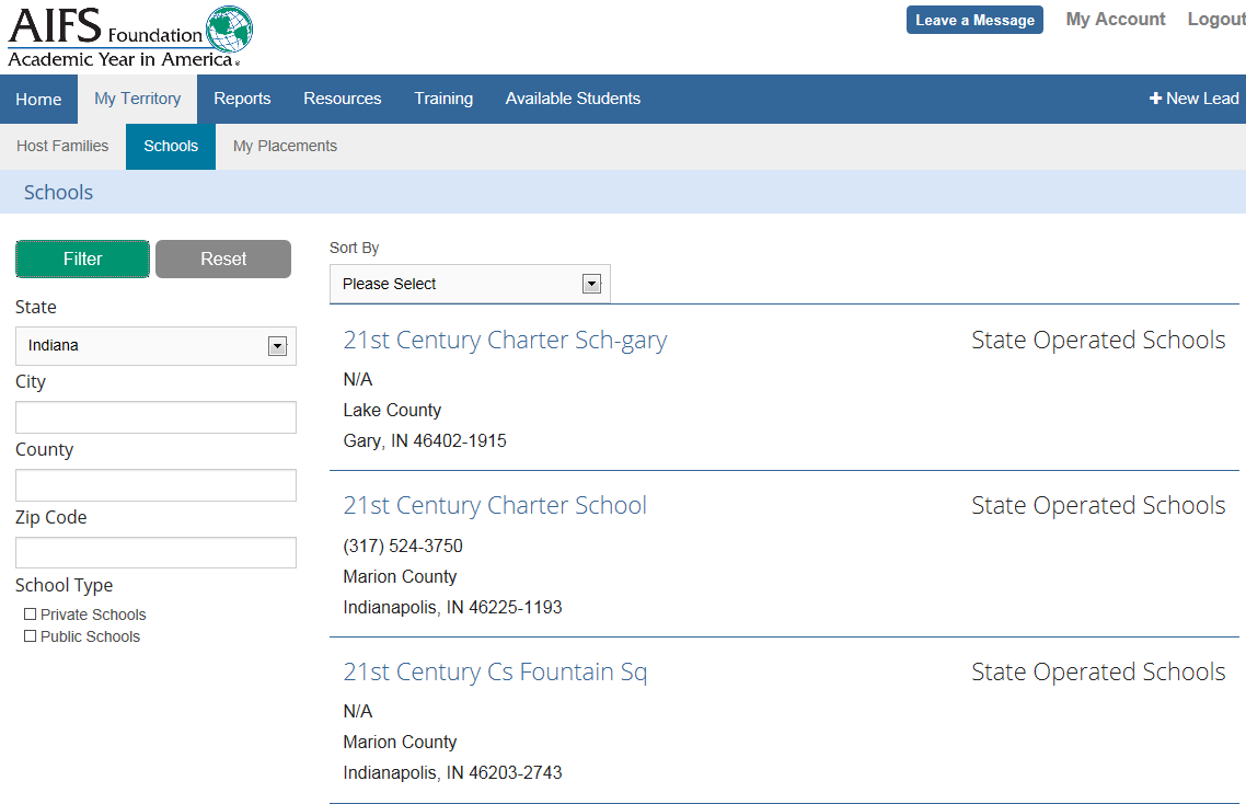My Territry - Schls Use this schl search t identify schls by state, city, cunty and zip cde.