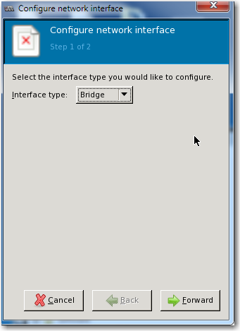 b. Select the Network Interfaces tab. To begin creating a bridge interface for mgmt0, click in the lower left corner.