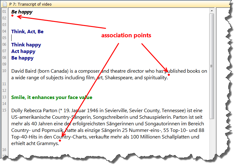 FIRST STEPS 19 Figure 16: Associated document showing the association points Highlight one of the associated paragraphs, e.g. the one starting with Happiness is a way to travel.