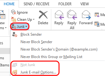 Office 365 (Outlook 2013) Overview of the Junk Email Filter No one likes spam or junk email.