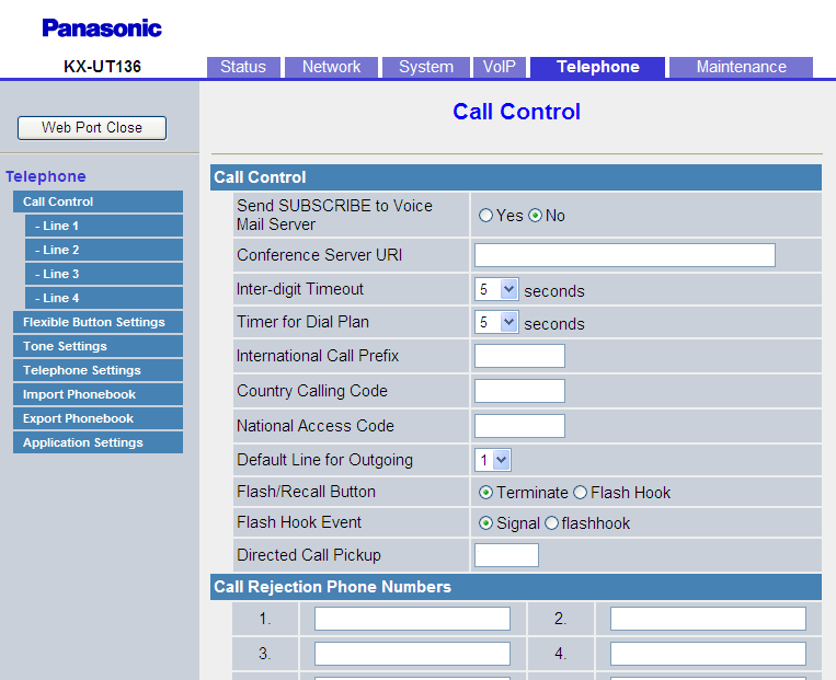 4.6.1 Call Control 4.6.1 Call Control This screen allows you to configure various call features that are common to all lines. 4.6.1.1 Call Control Send SUBSCRIBE to Voice Mail Server Selects whether to send the SUBSCRIBE request to a voice mail server.