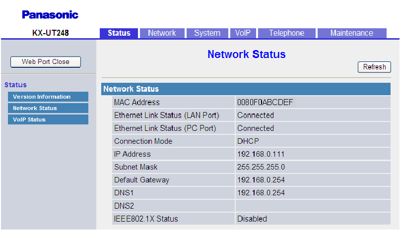 4.2.2 Network Status Current firmware version 4.2.2 Network Status This screen allows you to view the current network information of the unit, such as the MAC address, IP address, Ethernet port status, etc.